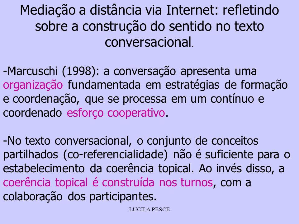 LUCILA PESCE Mediação a distância via Internet: refletindo sobre a construção do sentido no texto conversacional. -Marcuschi (1998): a conversação apr