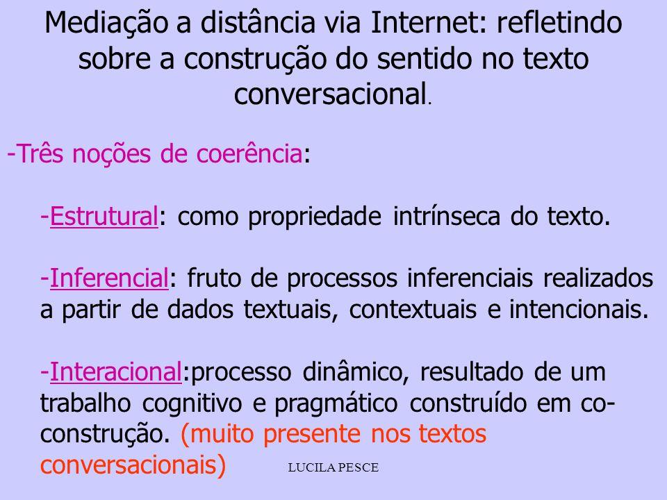 LUCILA PESCE Mediação a distância via Internet: refletindo sobre a construção do sentido no texto conversacional. -Três noções de coerência: -Estrutur