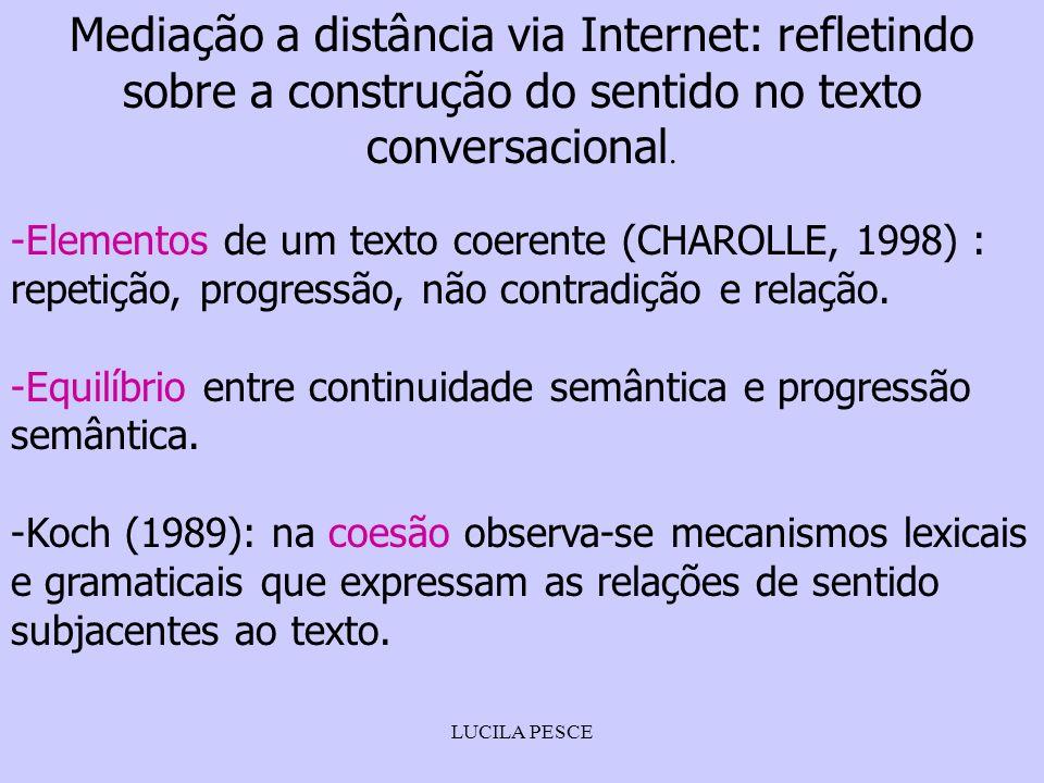 LUCILA PESCE Mediação a distância via Internet: refletindo sobre a construção do sentido no texto conversacional. -Elementos de um texto coerente (CHA