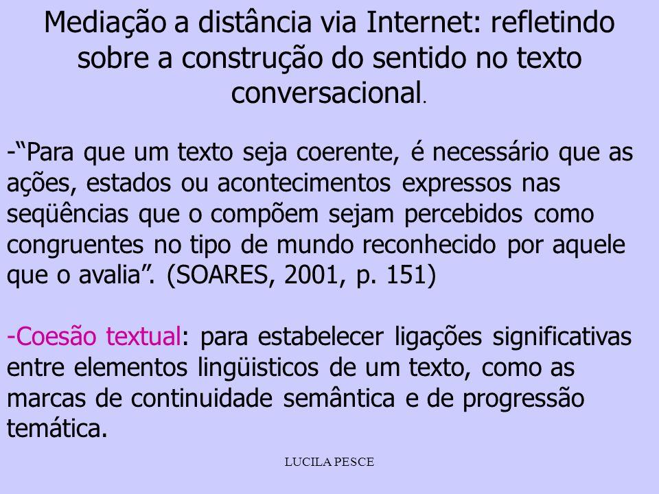 LUCILA PESCE Mediação a distância via Internet: refletindo sobre a construção do sentido no texto conversacional. -Para que um texto seja coerente, é