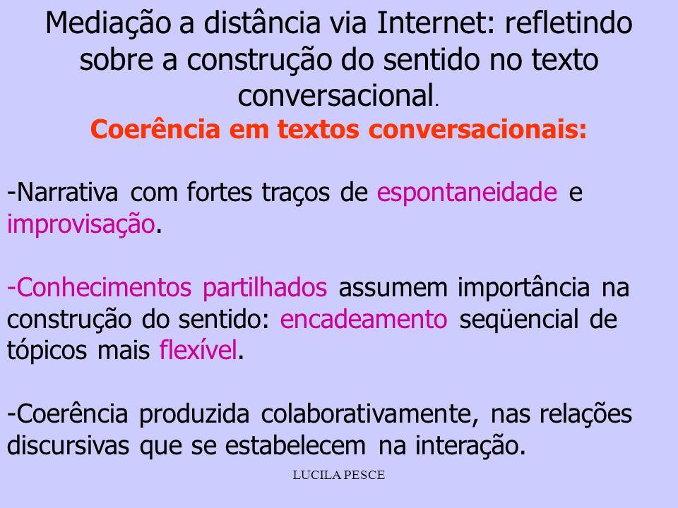 LUCILA PESCE Mediação a distância via Internet: refletindo sobre a construção do sentido no texto conversacional. Coerência em textos conversacionais: