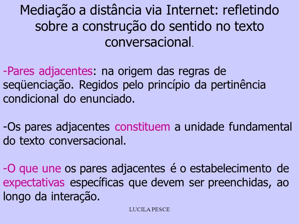 LUCILA PESCE Mediação a distância via Internet: refletindo sobre a construção do sentido no texto conversacional. -Pares adjacentes: na origem das reg