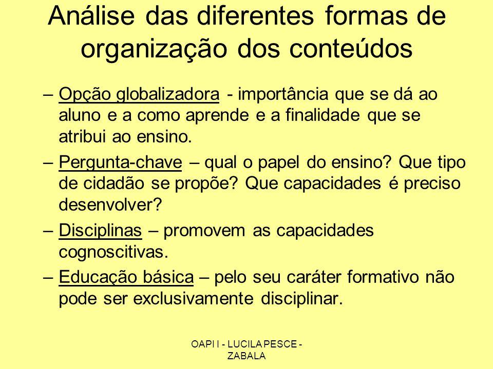 OAPI I - LUCILA PESCE - ZABALA Análise das diferentes formas de organização dos conteúdos –Opção globalizadora - importância que se dá ao aluno e a co