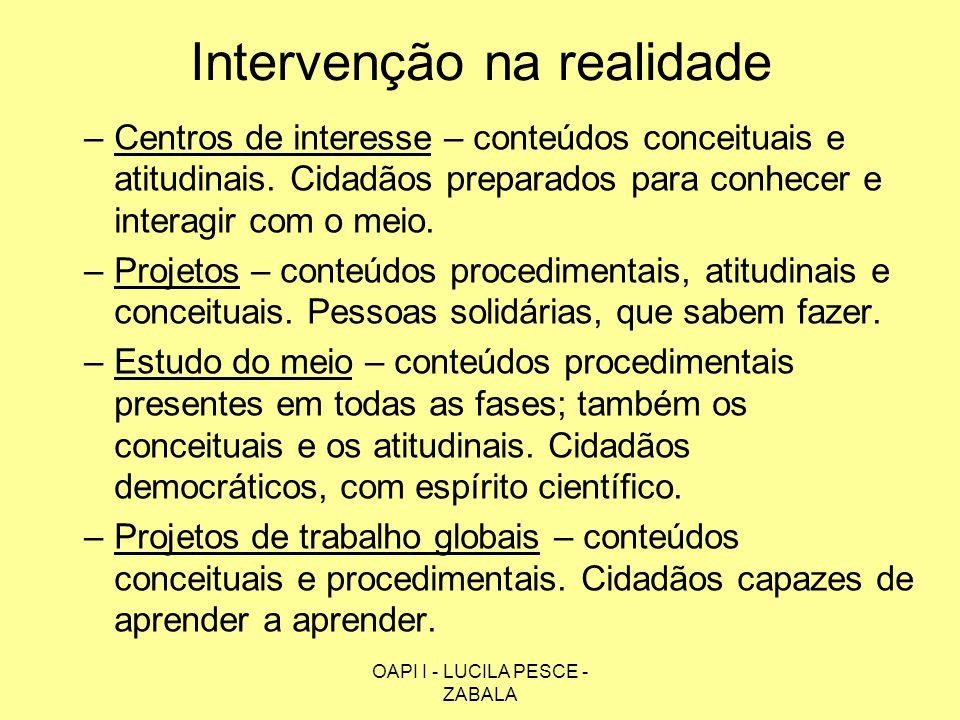 OAPI I - LUCILA PESCE - ZABALA Intervenção na realidade –Centros de interesse – conteúdos conceituais e atitudinais. Cidadãos preparados para conhecer