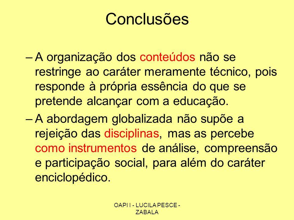OAPI I - LUCILA PESCE - ZABALA Conclusões –A organização dos conteúdos não se restringe ao caráter meramente técnico, pois responde à própria essência