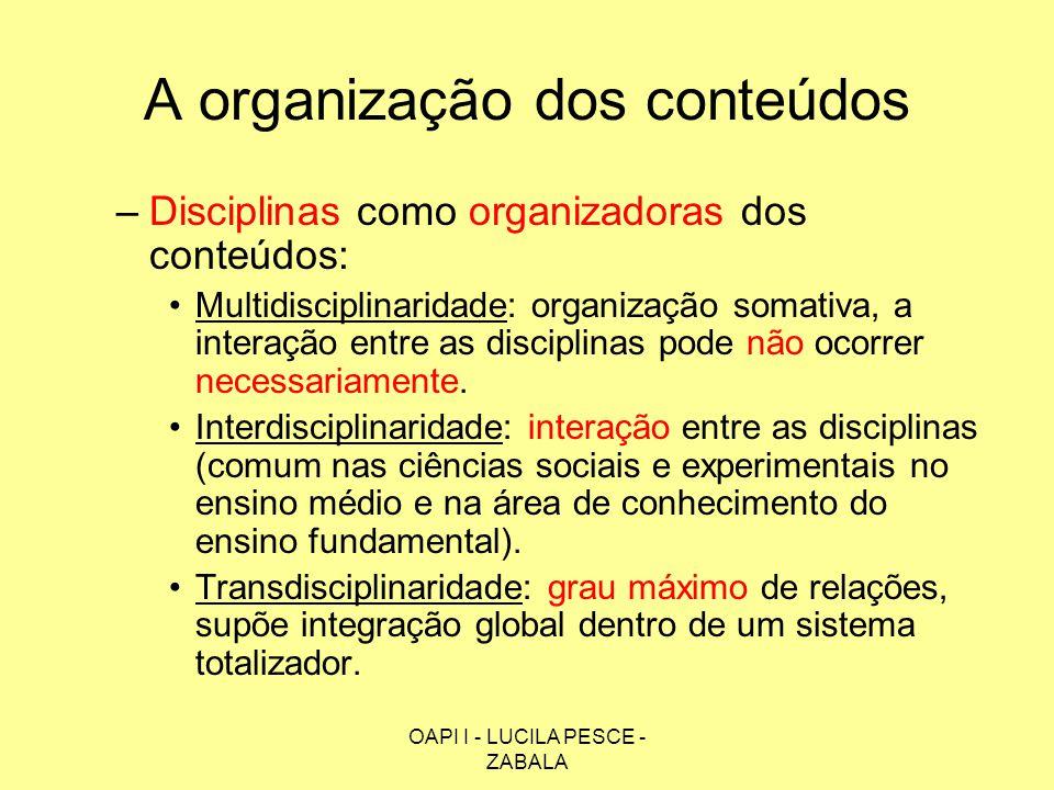 OAPI I - LUCILA PESCE - ZABALA A organização dos conteúdos –Disciplinas como organizadoras dos conteúdos: Multidisciplinaridade: organização somativa,