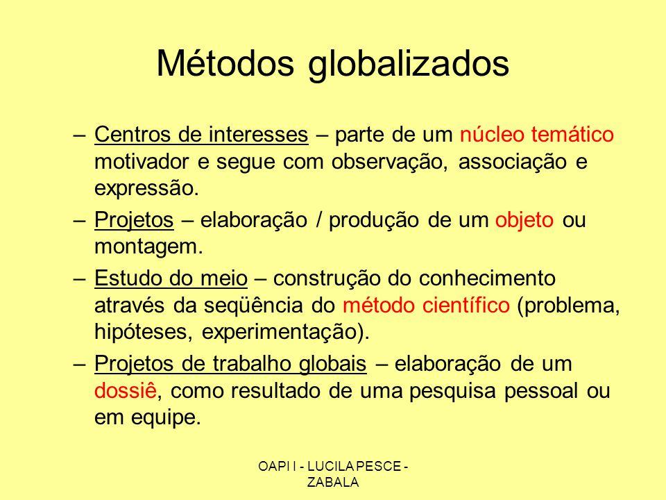 OAPI I - LUCILA PESCE - ZABALA Métodos globalizados –Centros de interesses – parte de um núcleo temático motivador e segue com observação, associação