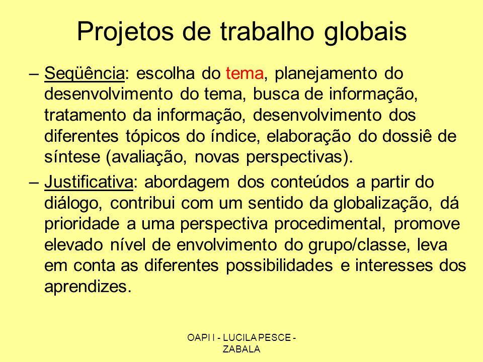 OAPI I - LUCILA PESCE - ZABALA Projetos de trabalho globais –Seqüência: escolha do tema, planejamento do desenvolvimento do tema, busca de informação,