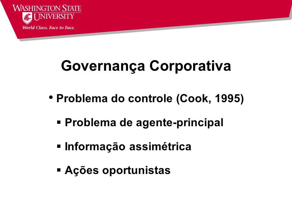 Governança Corporativa Separação entre propriedade e gestão Diretores eleitos Conselho de Administração (Board) Presidente do Conselho (Chairman) Gerente Geral (CEO)