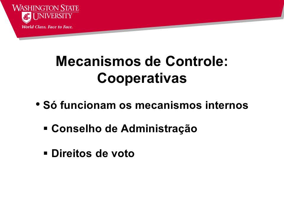 Mecanismos de Controle: Corporações (S.A.s) Mecanismos de controle externo Mercado de capital Risco de take-over Analistas de mercado Concorrência Mec