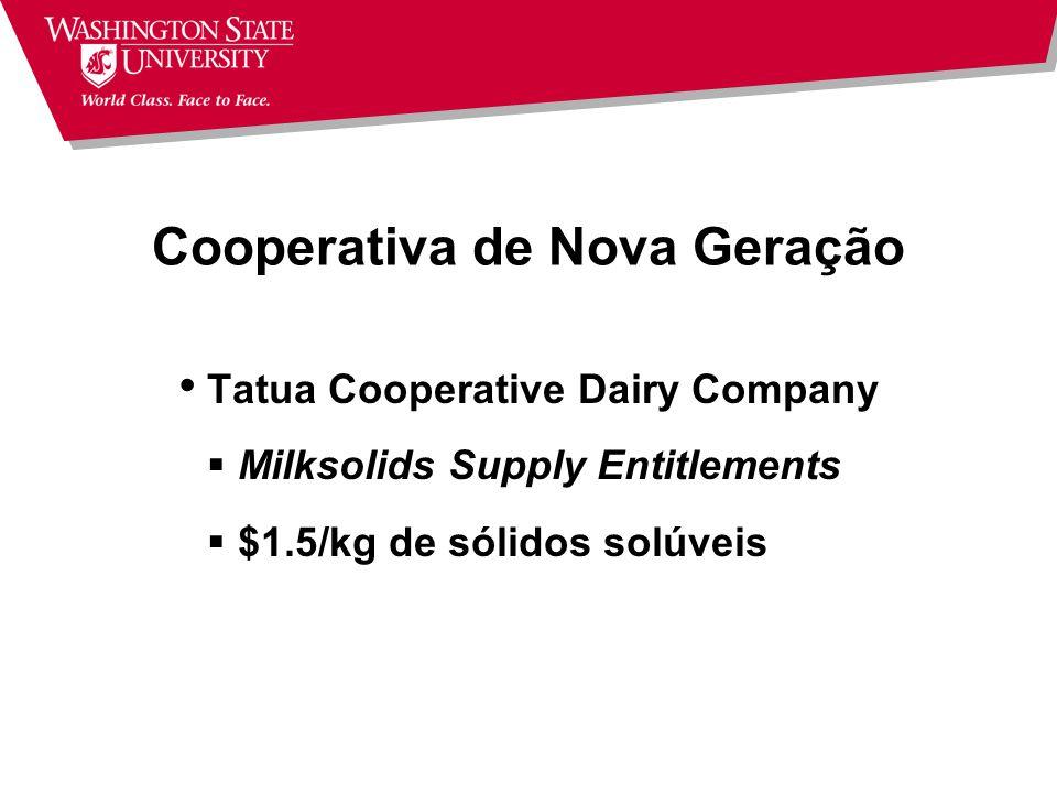 Cooperativa de Nova Geração Quadro de associados fechado Capital investido up-front Direitos de Entrega Não resgatável Transferível Acordo contratual