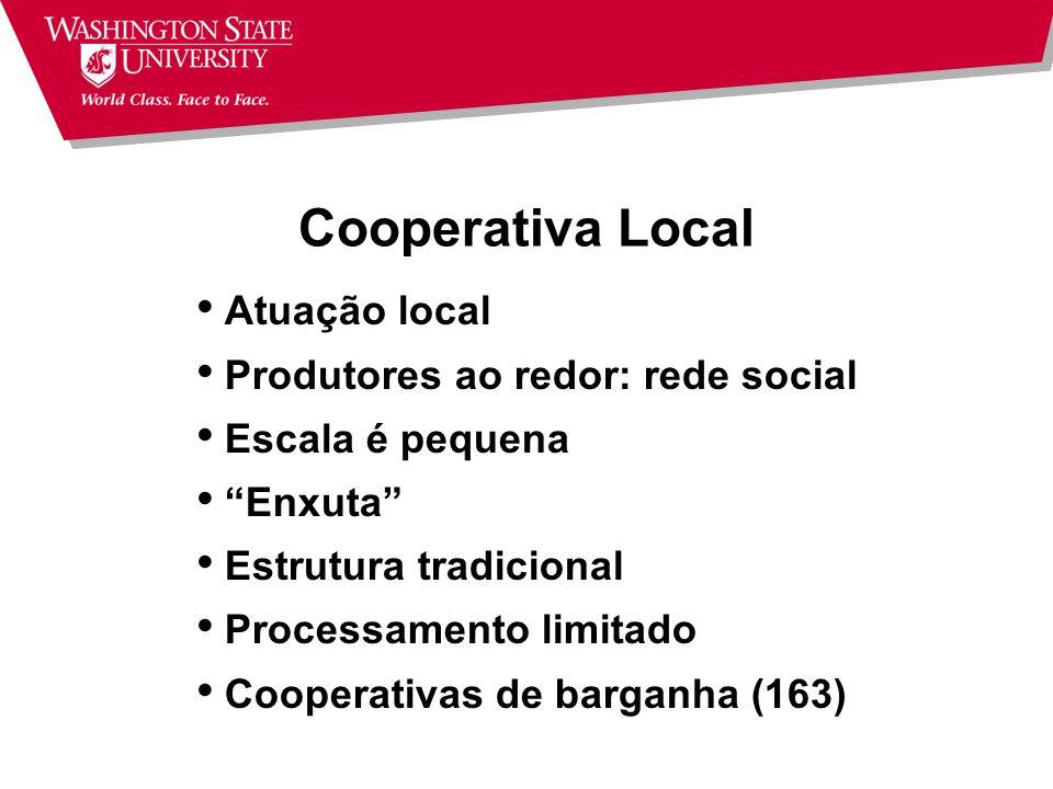 Modelos Estratégicos: Van Bekkum (2001) Cooperativa Local Cooperativa de Commodity Cooperativa de Nicho Cooperativa de Adição de Valor