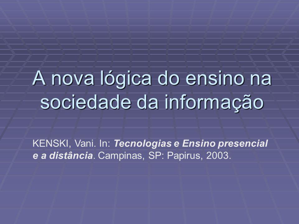 A nova lógica do ensino na sociedade da informação KENSKI, Vani. In: Tecnologias e Ensino presencial e a distância. Campinas, SP: Papirus, 2003.