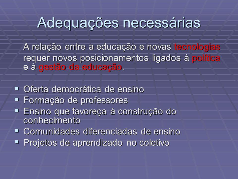 A relação entre a educação e novas tecnologias requer novos posicionamentos ligados à política e à gestão da educação. Oferta democrática de ensino Of