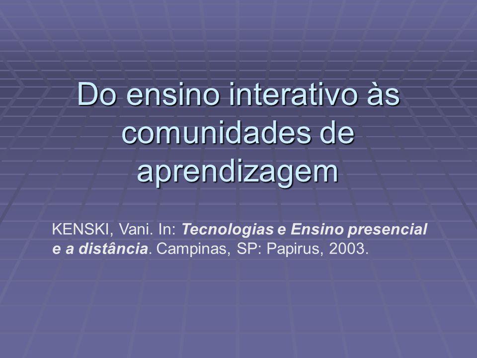 Do ensino interativo às comunidades de aprendizagem KENSKI, Vani. In: Tecnologias e Ensino presencial e a distância. Campinas, SP: Papirus, 2003.