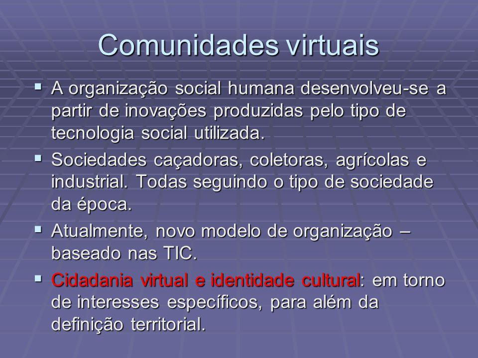 Comunidades virtuais A organização social humana desenvolveu-se a partir de inovações produzidas pelo tipo de tecnologia social utilizada. A organizaç
