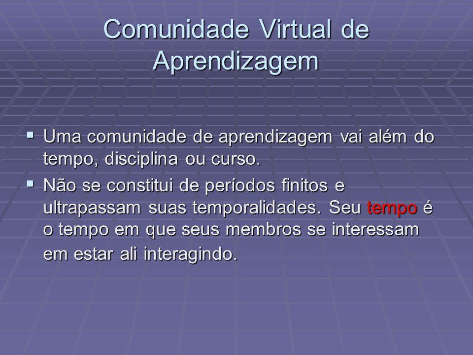 Comunidade Virtual de Aprendizagem Uma comunidade de aprendizagem vai além do tempo, disciplina ou curso. Uma comunidade de aprendizagem vai além do t