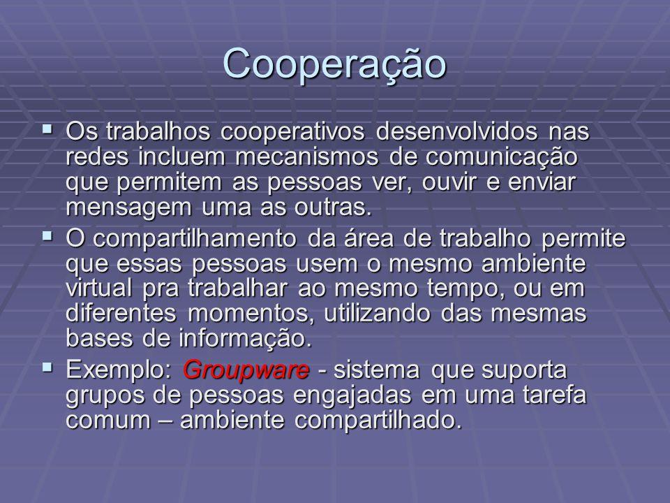 Os trabalhos cooperativos desenvolvidos nas redes incluem mecanismos de comunicação que permitem as pessoas ver, ouvir e enviar mensagem uma as outras