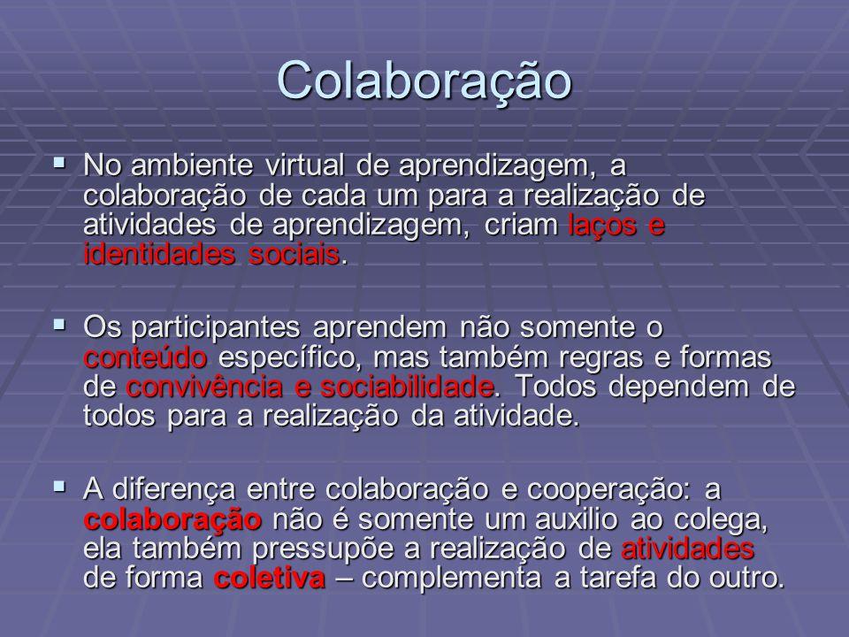 No ambiente virtual de aprendizagem, a colaboração de cada um para a realização de atividades de aprendizagem, criam laços e identidades sociais. No a