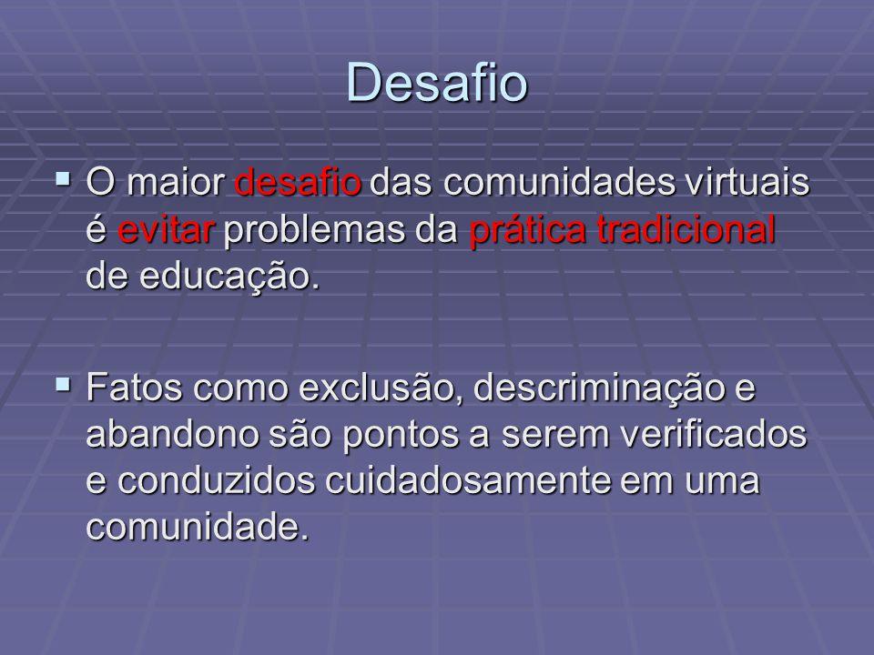 Desafio O maior desafio das comunidades virtuais é evitar problemas da prática tradicional de educação. O maior desafio das comunidades virtuais é evi