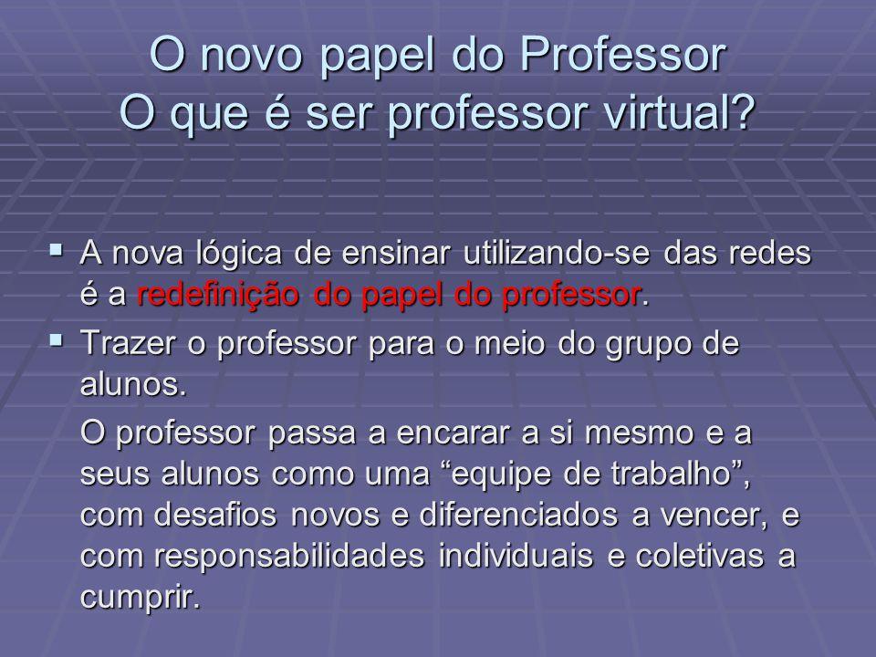 O novo papel do Professor O que é ser professor virtual? A nova lógica de ensinar utilizando-se das redes é a redefinição do papel do professor. A nov
