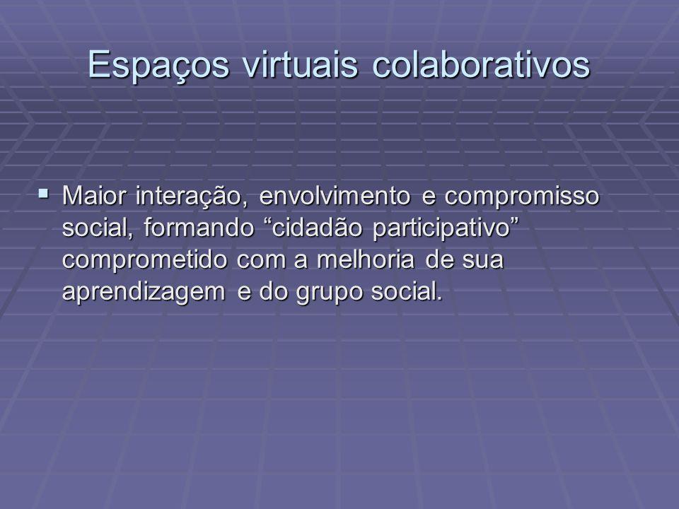 Espaços virtuais colaborativos Maior interação, envolvimento e compromisso social, formando cidadão participativo comprometido com a melhoria de sua a