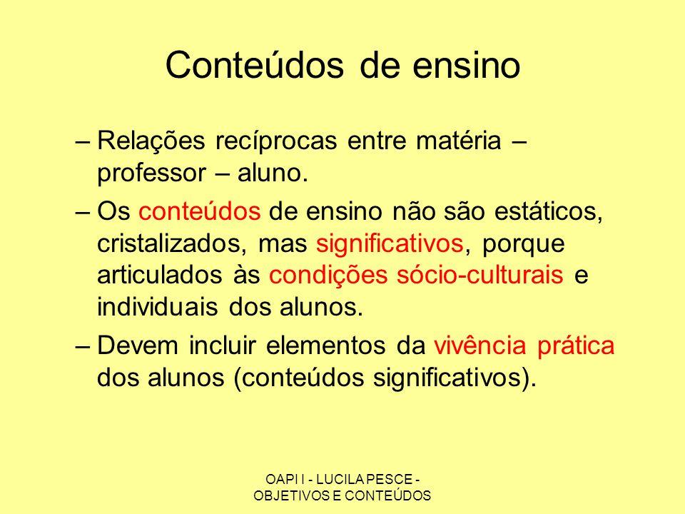 OAPI I - LUCILA PESCE - OBJETIVOS E CONTEÚDOS Conteúdos de ensino –Relações recíprocas entre matéria – professor – aluno. –Os conteúdos de ensino não