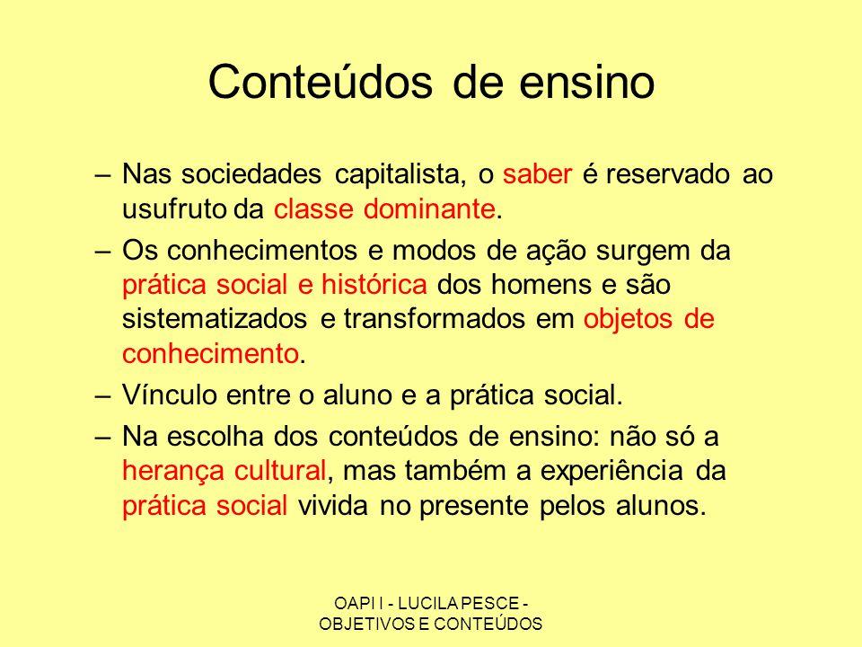 OAPI I - LUCILA PESCE - OBJETIVOS E CONTEÚDOS Conteúdos de ensino –Nas sociedades capitalista, o saber é reservado ao usufruto da classe dominante. –O