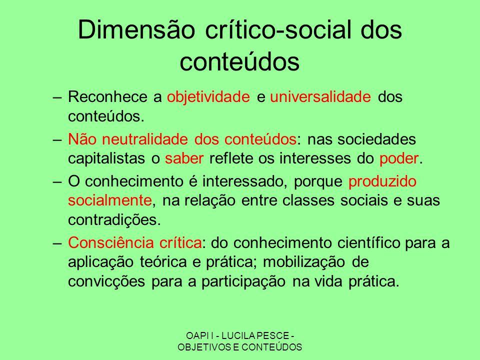 OAPI I - LUCILA PESCE - OBJETIVOS E CONTEÚDOS Dimensão crítico-social dos conteúdos –Reconhece a objetividade e universalidade dos conteúdos. –Não neu