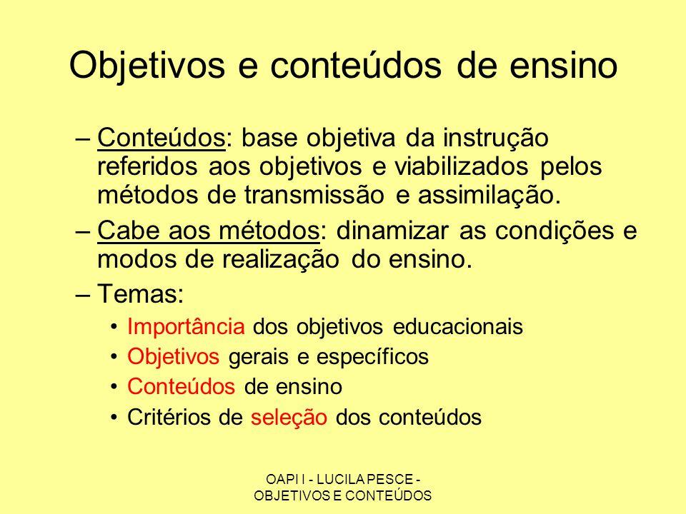 OAPI I - LUCILA PESCE - OBJETIVOS E CONTEÚDOS Objetivos e conteúdos de ensino –Conteúdos: base objetiva da instrução referidos aos objetivos e viabili