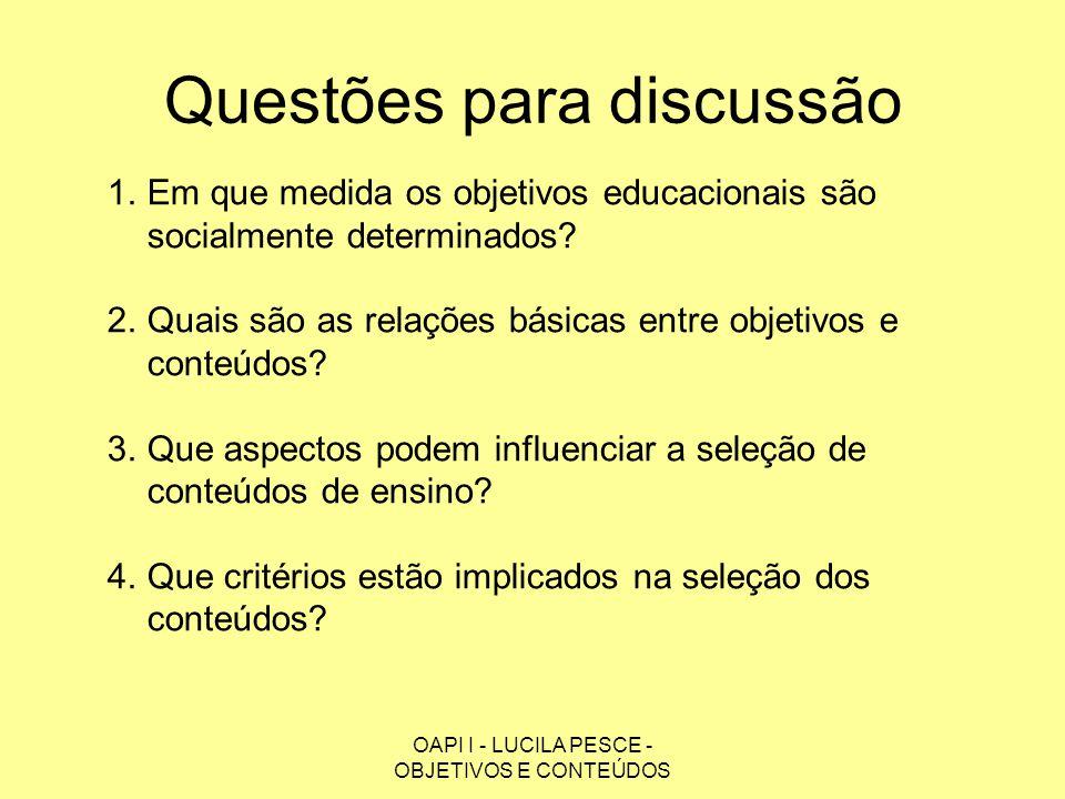 OAPI I - LUCILA PESCE - OBJETIVOS E CONTEÚDOS Questões para discussão 1.Em que medida os objetivos educacionais são socialmente determinados? 2.Quais
