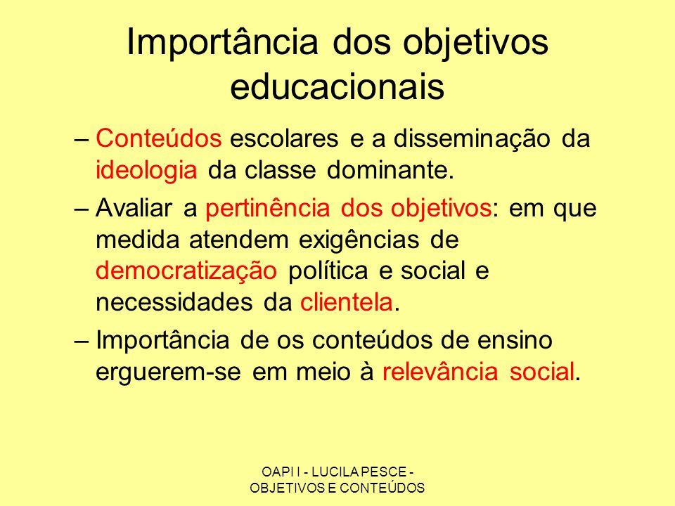 OAPI I - LUCILA PESCE - OBJETIVOS E CONTEÚDOS Importância dos objetivos educacionais –Dois níveis de objetivos educacionais: Gerais – propósitos mais amplos, grandes linhas.