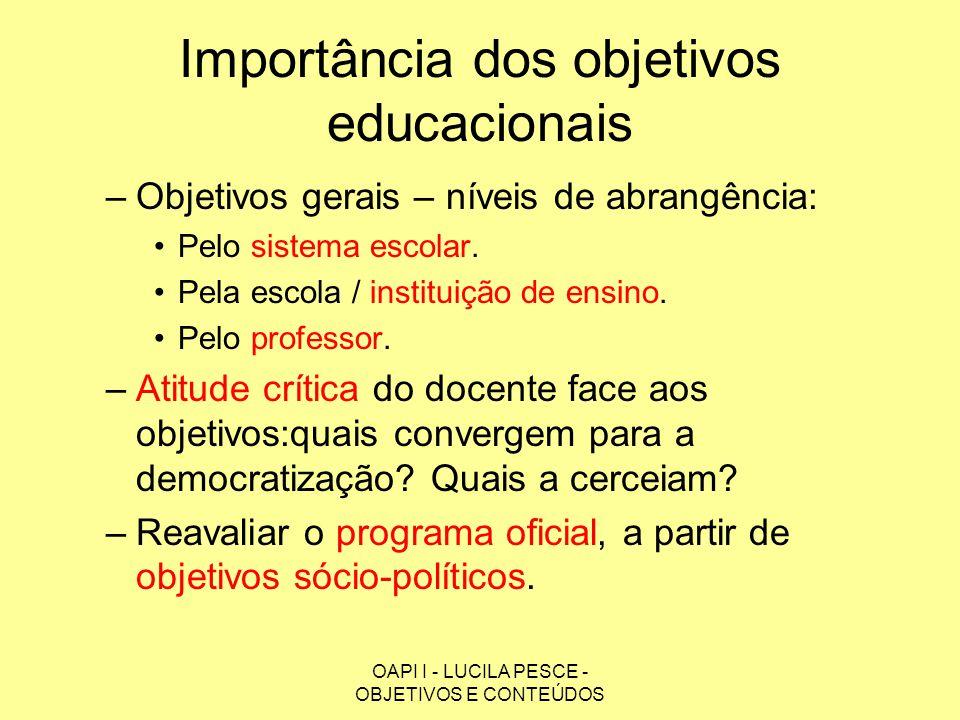 OAPI I - LUCILA PESCE - OBJETIVOS E CONTEÚDOS Importância dos objetivos educacionais –Objetivos gerais da educação: educação no conjunto das lutas pela democratização da sociedade.