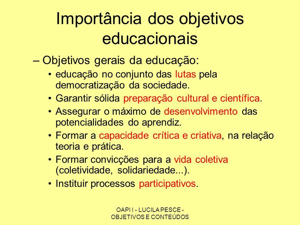 OAPI I - LUCILA PESCE - OBJETIVOS E CONTEÚDOS Importância dos objetivos educacionais –Objetivos gerais da educação: educação no conjunto das lutas pel