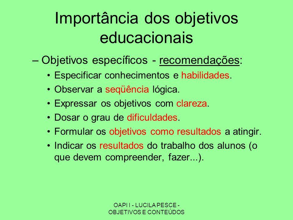 OAPI I - LUCILA PESCE - OBJETIVOS E CONTEÚDOS Importância dos objetivos educacionais –Objetivos específicos - recomendações: Especificar conhecimentos