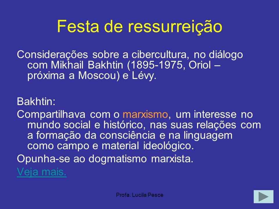 Profa. Lucila Pesce Festa de ressurreição Considerações sobre a cibercultura, no diálogo com Mikhail Bakhtin (1895-1975, Oriol – próxima a Moscou) e L