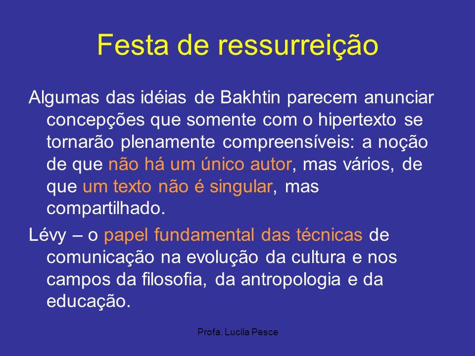 Profa. Lucila Pesce Festa de ressurreição Algumas das idéias de Bakhtin parecem anunciar concepções que somente com o hipertexto se tornarão plenament