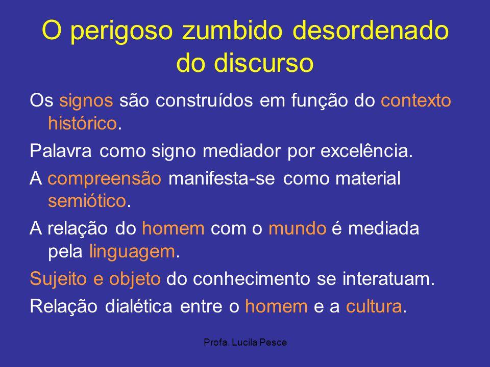Profa. Lucila Pesce O perigoso zumbido desordenado do discurso Os signos são construídos em função do contexto histórico. Palavra como signo mediador