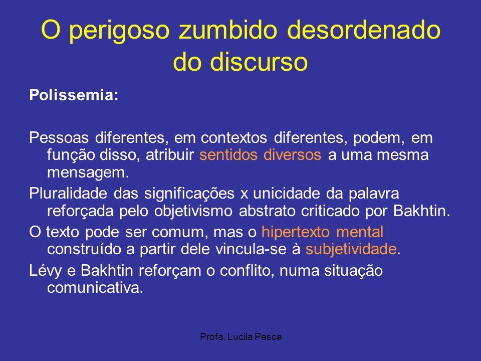 Profa. Lucila Pesce O perigoso zumbido desordenado do discurso Polissemia: Pessoas diferentes, em contextos diferentes, podem, em função disso, atribu