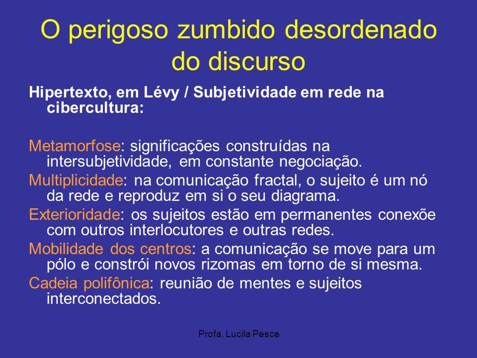 Profa. Lucila Pesce O perigoso zumbido desordenado do discurso Hipertexto, em Lévy / Subjetividade em rede na cibercultura: Metamorfose: significações