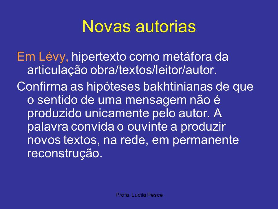 Profa. Lucila Pesce Novas autorias Em Lévy, hipertexto como metáfora da articulação obra/textos/leitor/autor. Confirma as hipóteses bakhtinianas de qu