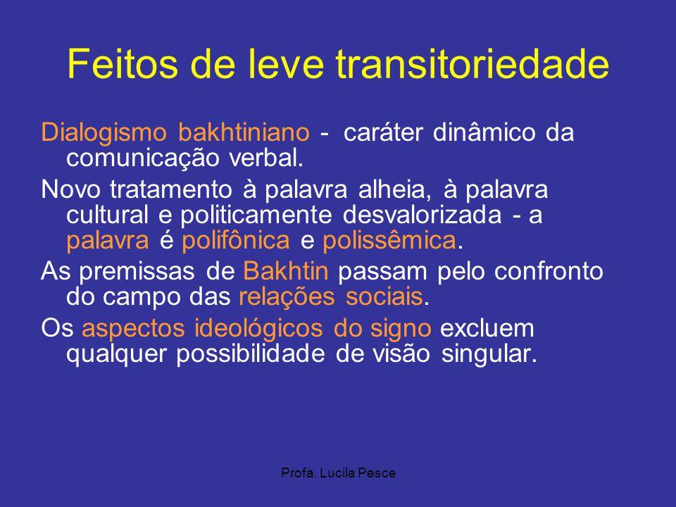 Profa. Lucila Pesce Feitos de leve transitoriedade Dialogismo bakhtiniano - caráter dinâmico da comunicação verbal. Novo tratamento à palavra alheia,