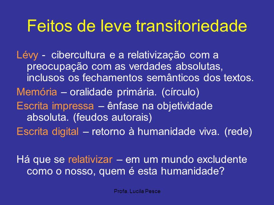 Profa. Lucila Pesce Feitos de leve transitoriedade Lévy - cibercultura e a relativização com a preocupação com as verdades absolutas, inclusos os fech