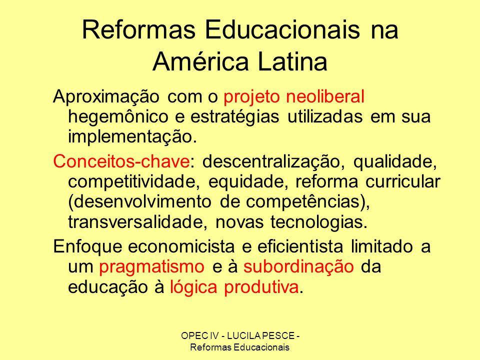 OPEC IV - LUCILA PESCE - Reformas Educacionais Reformas Educacionais na América Latina Aproximação com o projeto neoliberal hegemônico e estratégias u