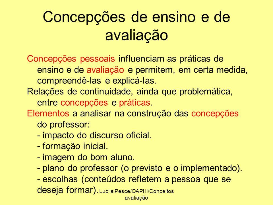 Lucila Pesce/OAPI II/Conceitos avaliação Concepções de ensino e de avaliação Concepções pessoais influenciam as práticas de ensino e de avaliação e pe
