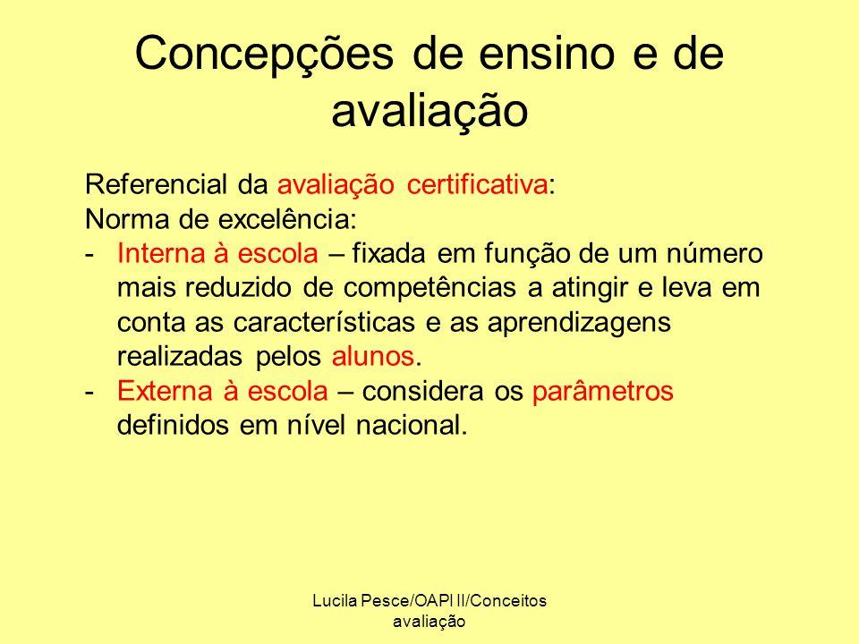 Lucila Pesce/OAPI II/Conceitos avaliação Concepções de ensino e de avaliação Referencial da avaliação certificativa: Norma de excelência: -Interna à e