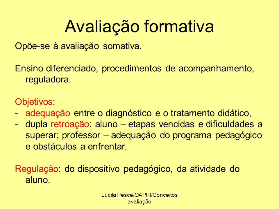 Lucila Pesce/OAPI II/Conceitos avaliação Avaliação formativa Opõe-se à avaliação somativa. Ensino diferenciado, procedimentos de acompanhamento, regul