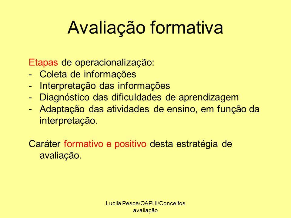 Lucila Pesce/OAPI II/Conceitos avaliação Avaliação formativa Etapas de operacionalização: -Coleta de informações -Interpretação das informações -Diagn