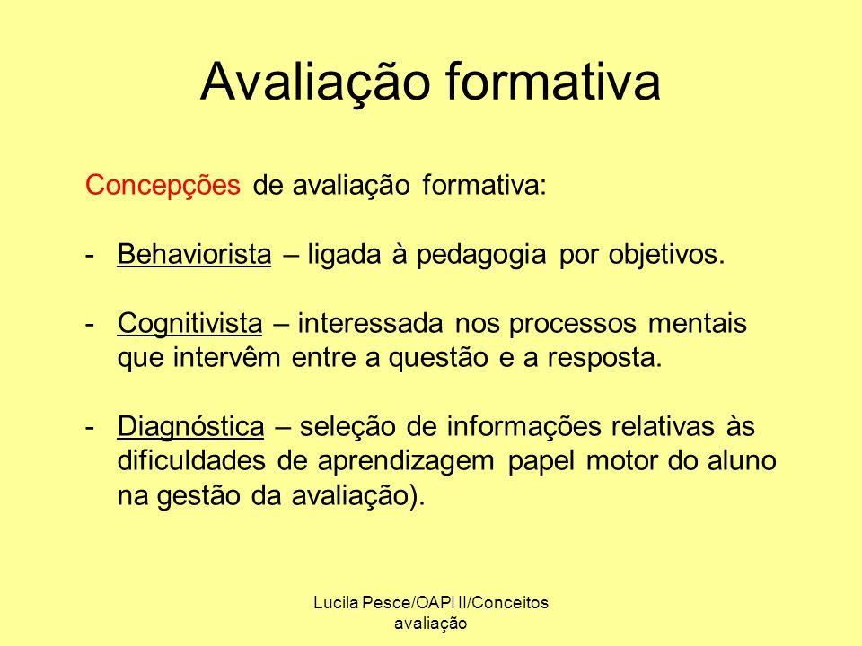 Lucila Pesce/OAPI II/Conceitos avaliação Avaliação formativa Concepções de avaliação formativa: -Behaviorista – ligada à pedagogia por objetivos. -Cog