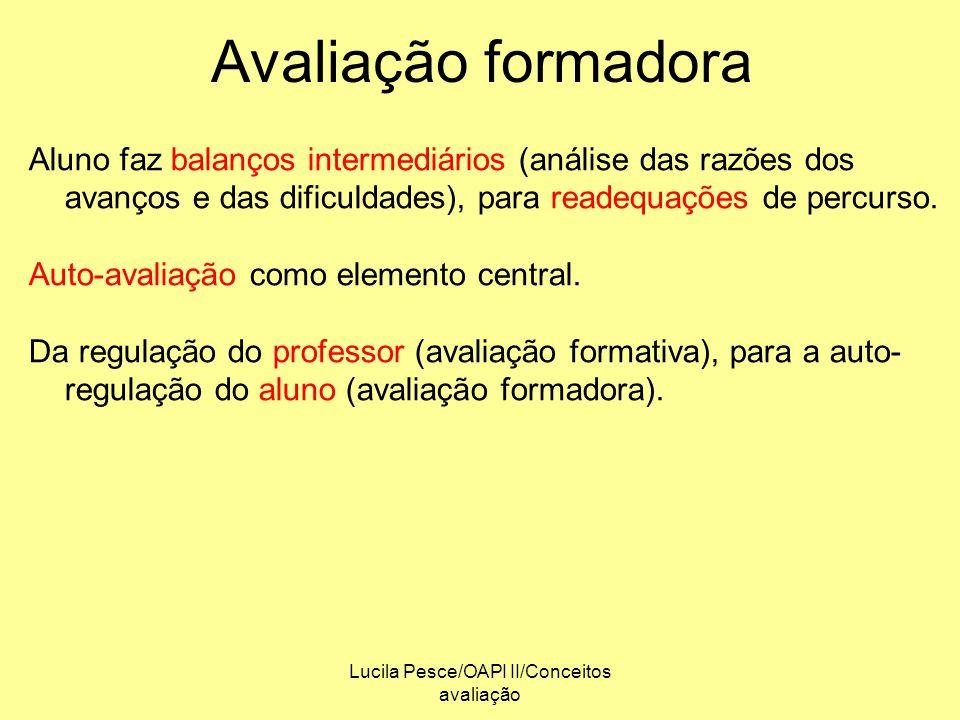 Lucila Pesce/OAPI II/Conceitos avaliação Avaliação formadora Aluno faz balanços intermediários (análise das razões dos avanços e das dificuldades), pa